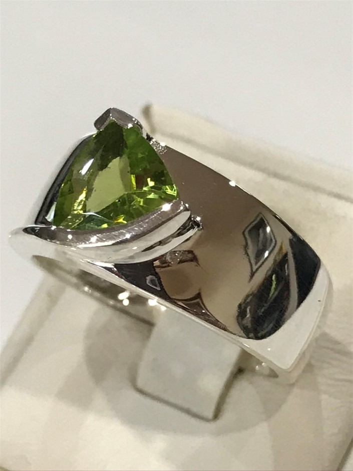 Stunning Wide Banded 3.00ct Genuine Peridot Ring Size P 1/2 (8)