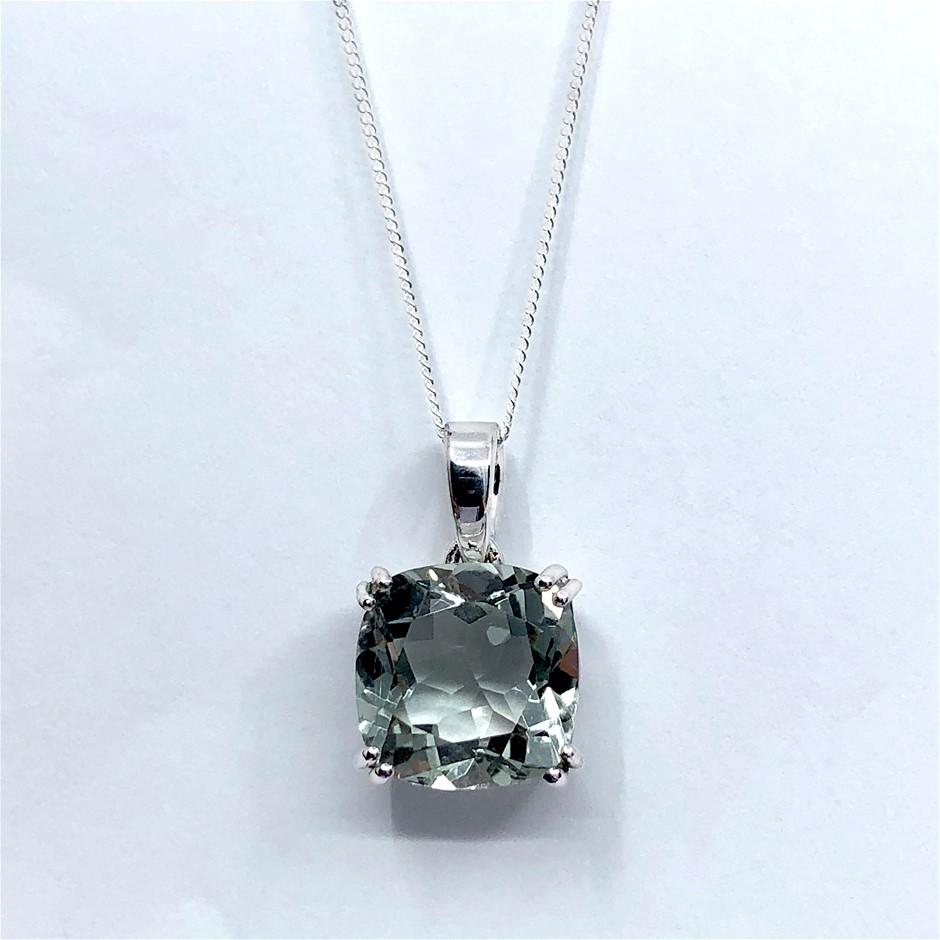 Elegant 925 Sterling Silver 5.95ct Green Amethyst Pendant