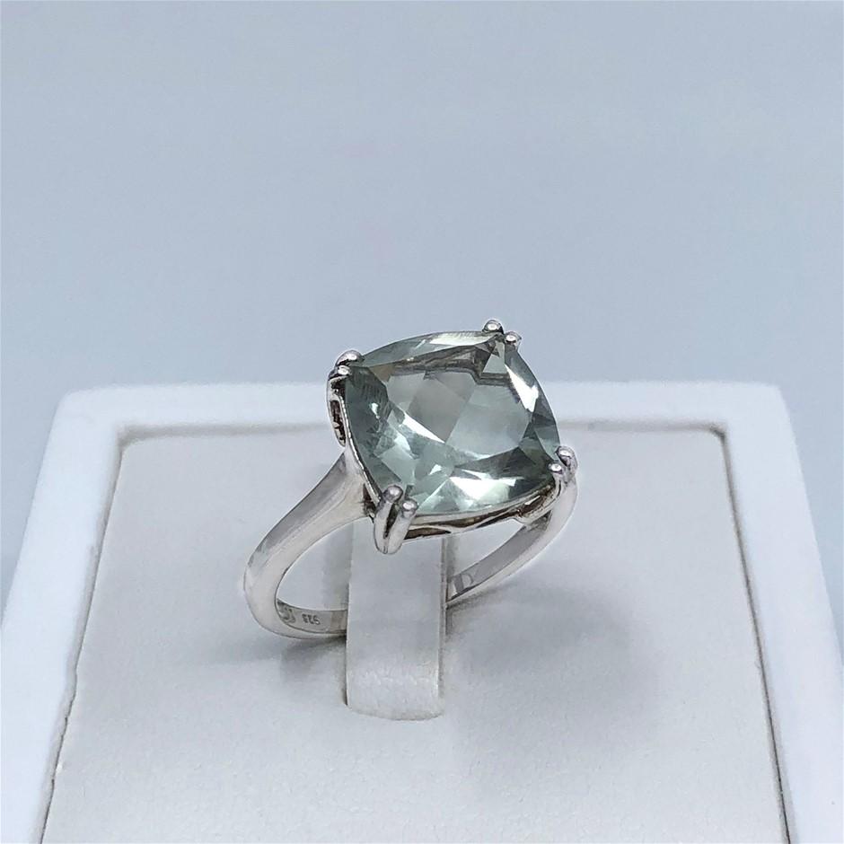 Elegant Sterling Silver 5.95ct Green Amethyst Ring