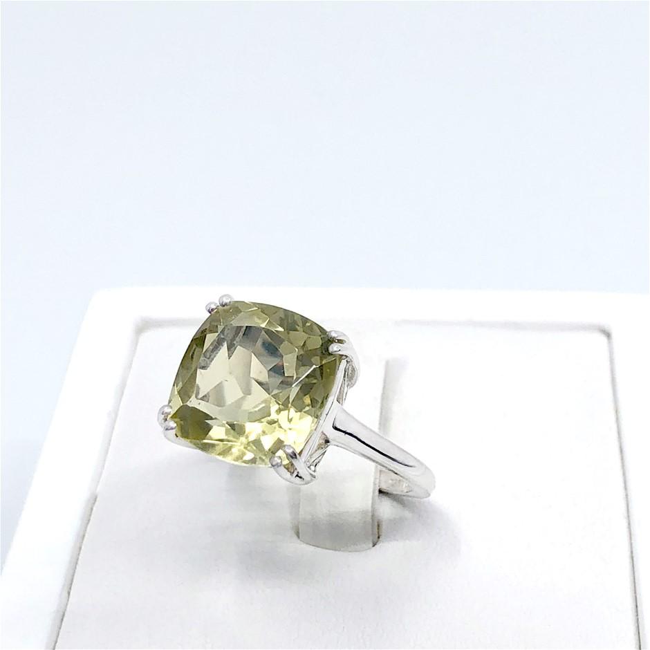 Elegant Sterling Silver 6.33ct Lemon Quartz Ring