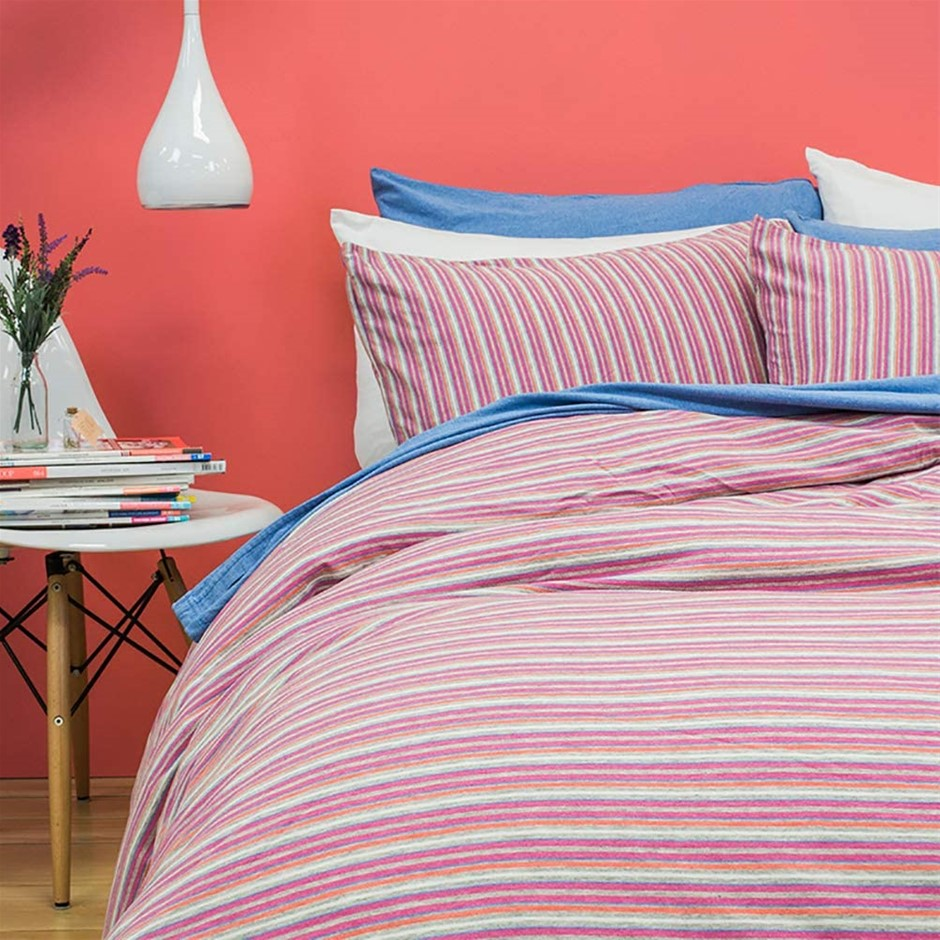 BAMBURY BedT Quilt Cover Set, Queen, Pink. 100% Cotton Jersey. Quilt Cover:
