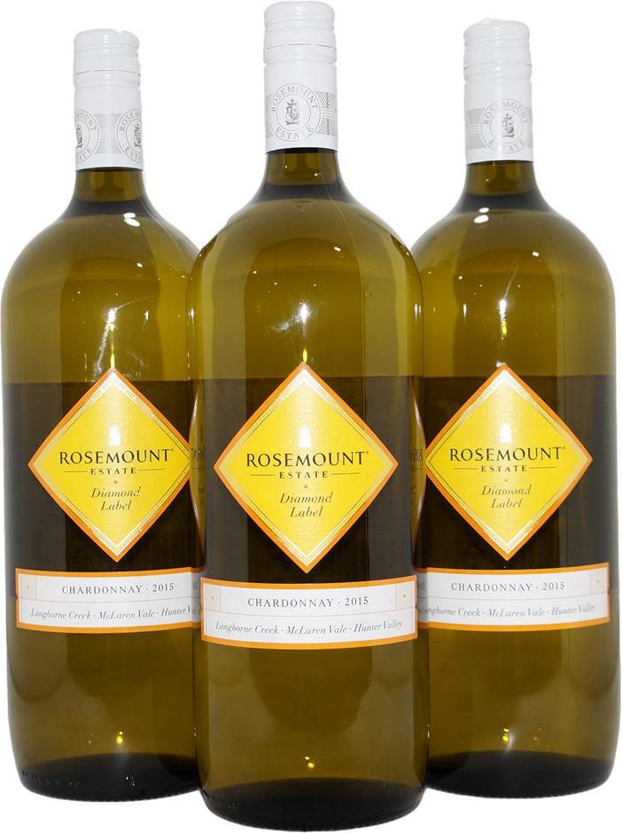 Rosemount Diamond Label Chardonnay 2015 (3x 1.5L), SA. Screwcap.