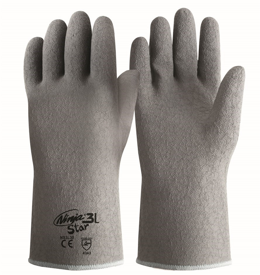 12 x Pairs NINJA Heavy Duty Gloves, Size 2XL, Crinkled Latex, Cotton Lined.