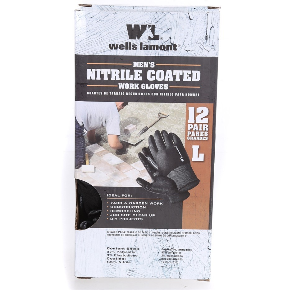 12 Pairs x WELL LAMONT Men`s Nitrile Coated Gloves, Size L, (SN:CC59971) (2