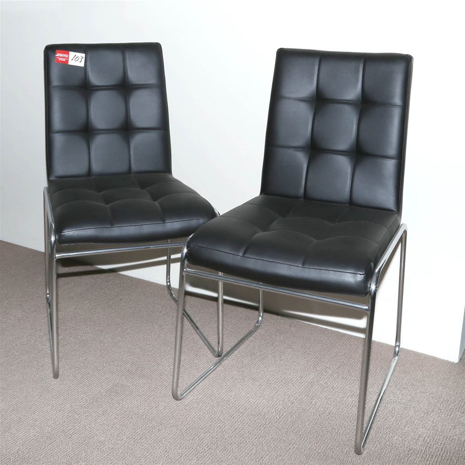 2 Clients Chairs Black Vinyl with Chrome Frame.
