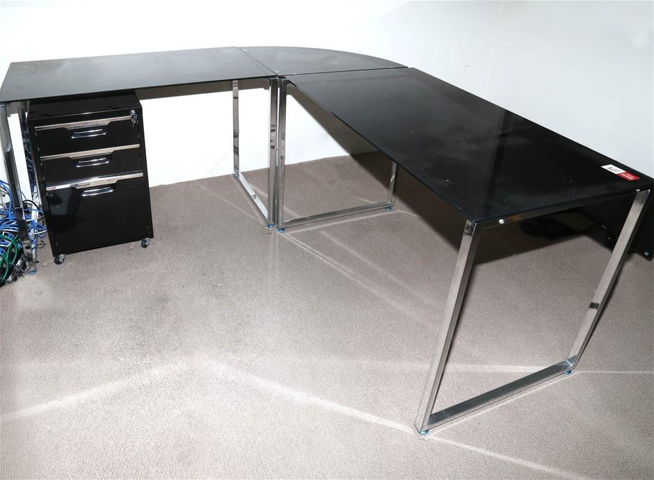 Smoked Glass Topped Desk w/ Left Hand Return Chrome Frame