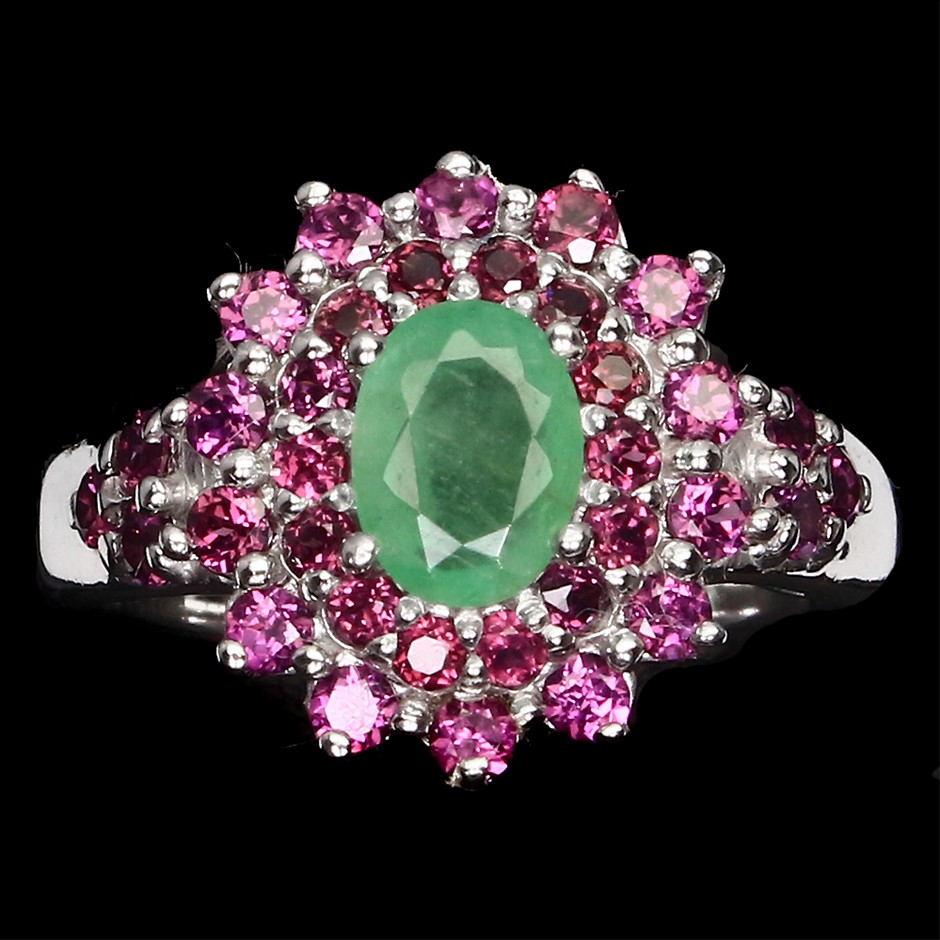 Striking Genuine Emerald & Garnet Statement Ring