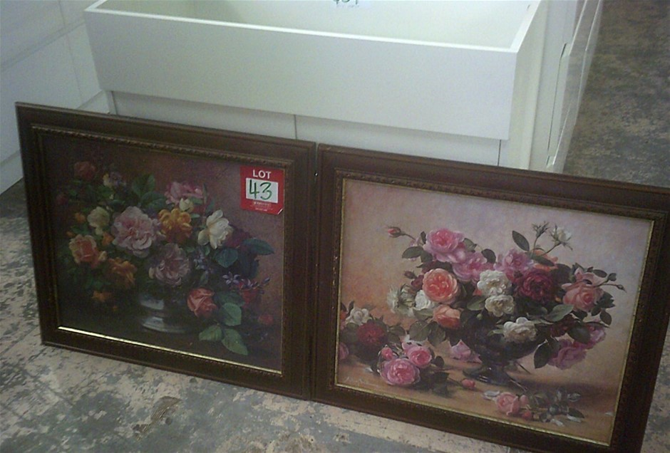 2 Floral Timber framed Prints. Each Print is 720mm x 640mm