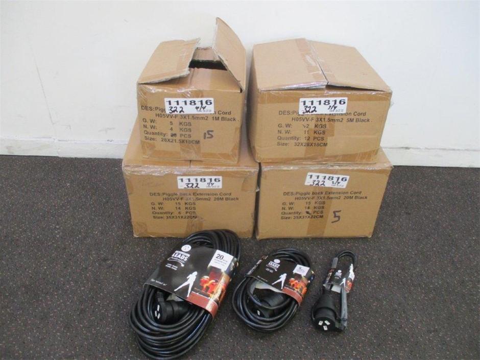 Qty 38 x Black Piggy Back Extension Cords