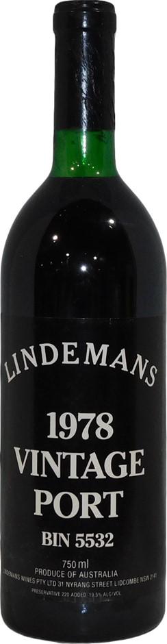 Lindemans Bin 5532 Vintage Port 1978 (1 x 750mL), AUS. Cork