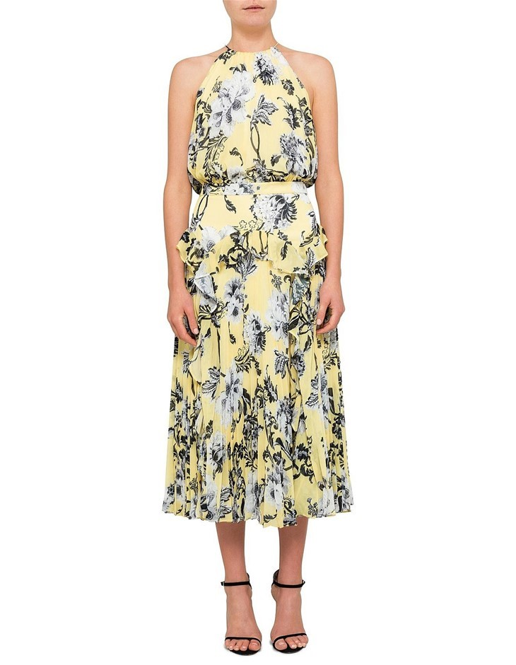 LOVER Dhalia Pleat Midi Sleeveless Dress. Size 6, Colour: Yellow. ORP: $550