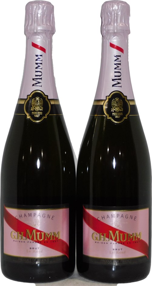 GH Mumm Brut Le Rose Champagne Rose NV (2x 750mL), France. Cork