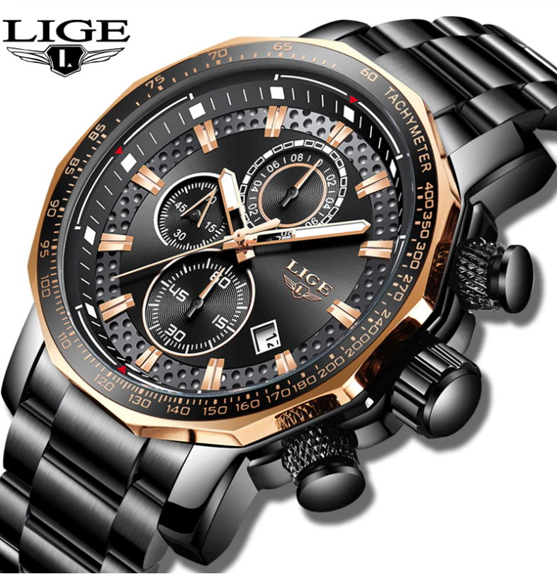 LIGE Men Business & Luxury Quartz Chronograph Watch Lige 9902 BG