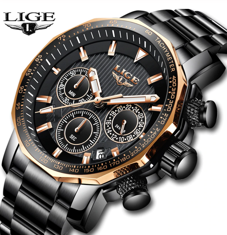 LIGE Men Business & Luxury Quartz Chronograph Watch Lige 9913 Black Gold