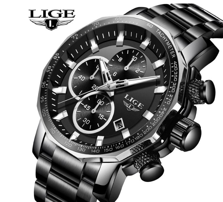 LIGE Men Business & Luxury Quartz Chronograph Watch Lige 9914 Black