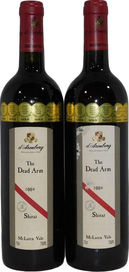 d'Arenberg Dead Arm Shiraz 2000 (2x 750mL), SA . Cork