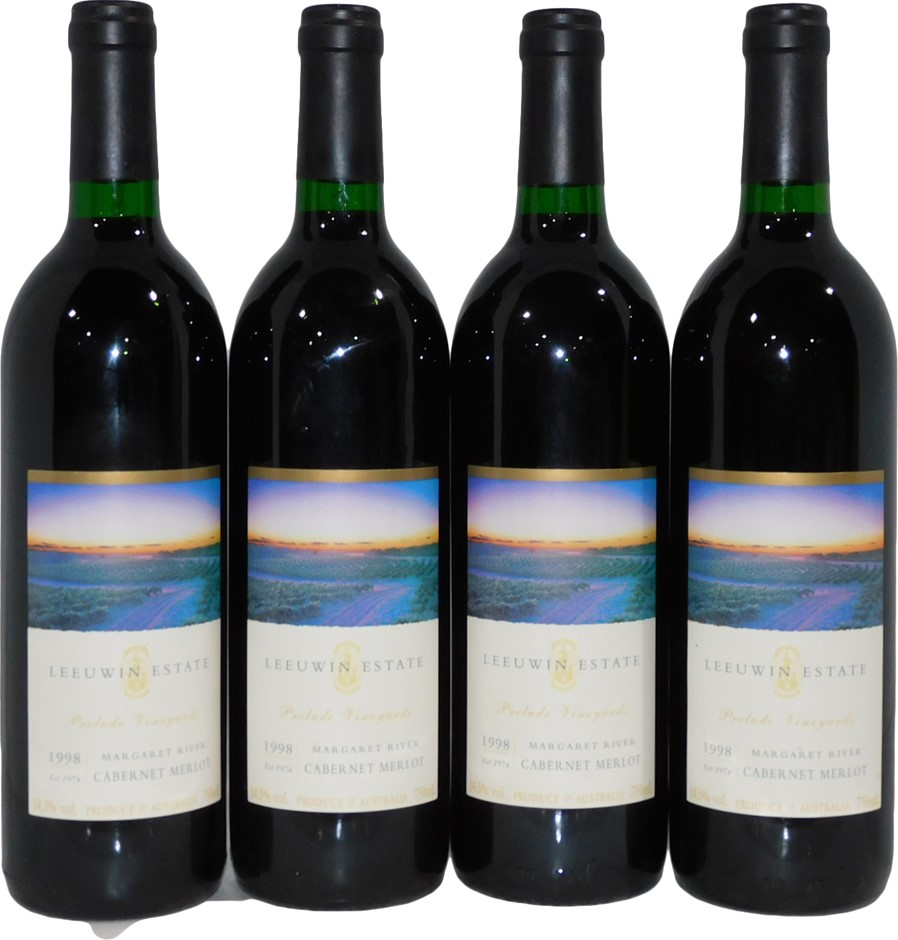 Leeuwin Estate Cabernet Merlot 1998 (4x 750mL), Margaret River. Cork