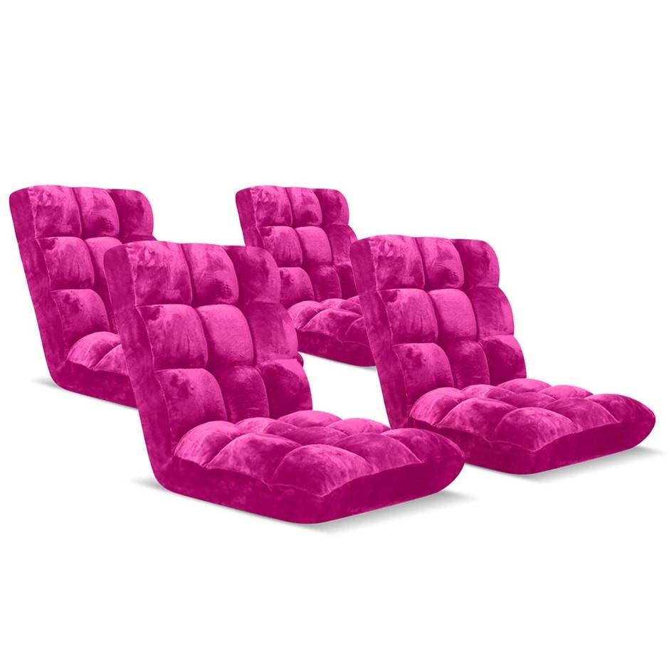 SOGA Floor Recliner Folding Lounge Sofa Folding Chair Cushion Pink x4