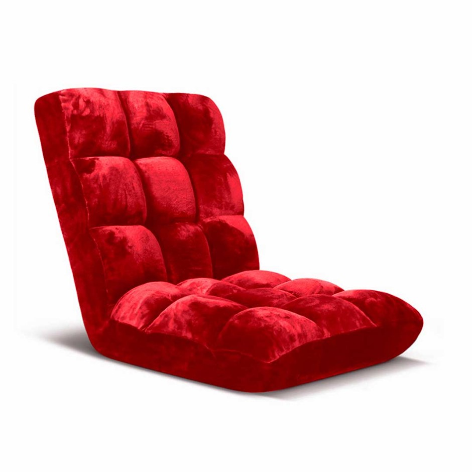 SOGA Floor Recliner Folding Lounge Sofa Futon Couch Chair Cushion Red