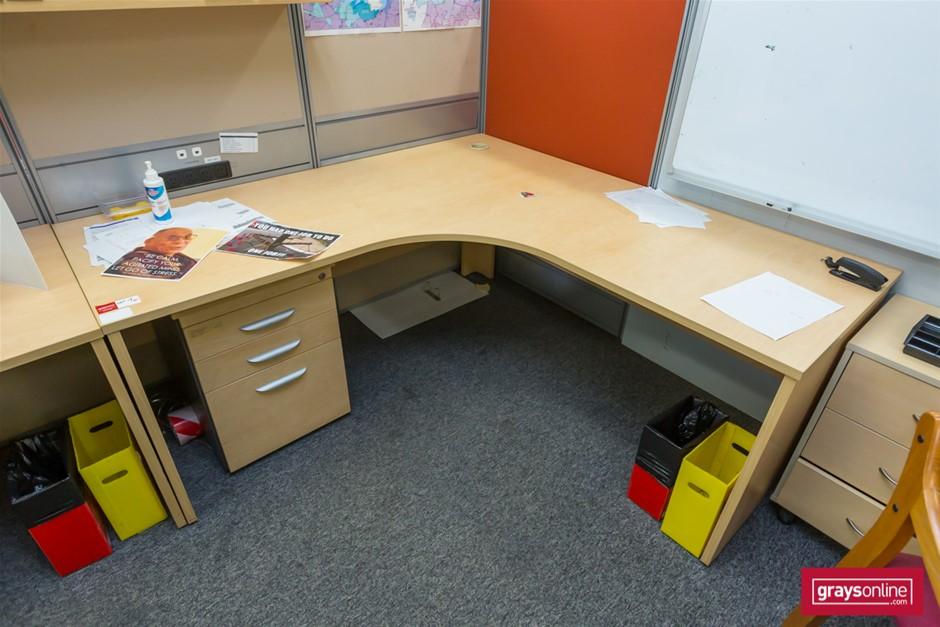 Tan Corner Workstation Office Desk (one piece)
