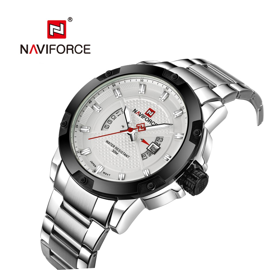 NAVIFORCE Men Classic SS Seiko Movement Water-resistant Analog Quartz Watch