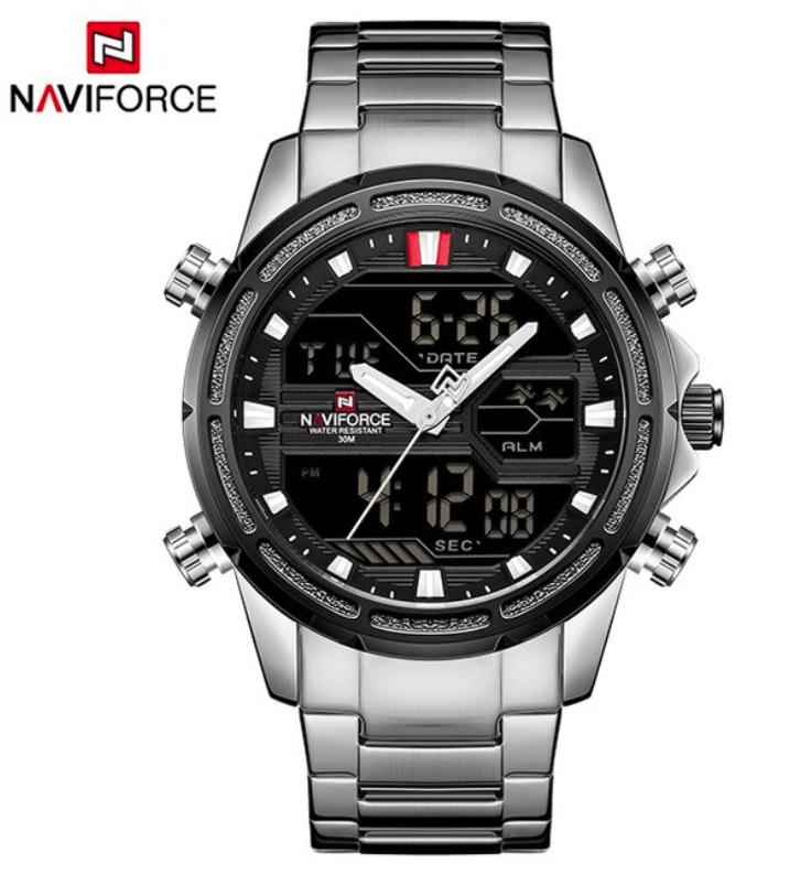 NAVIFORCE Men's Classic Elegant & Business Quartz Analog LCD Digital Watch