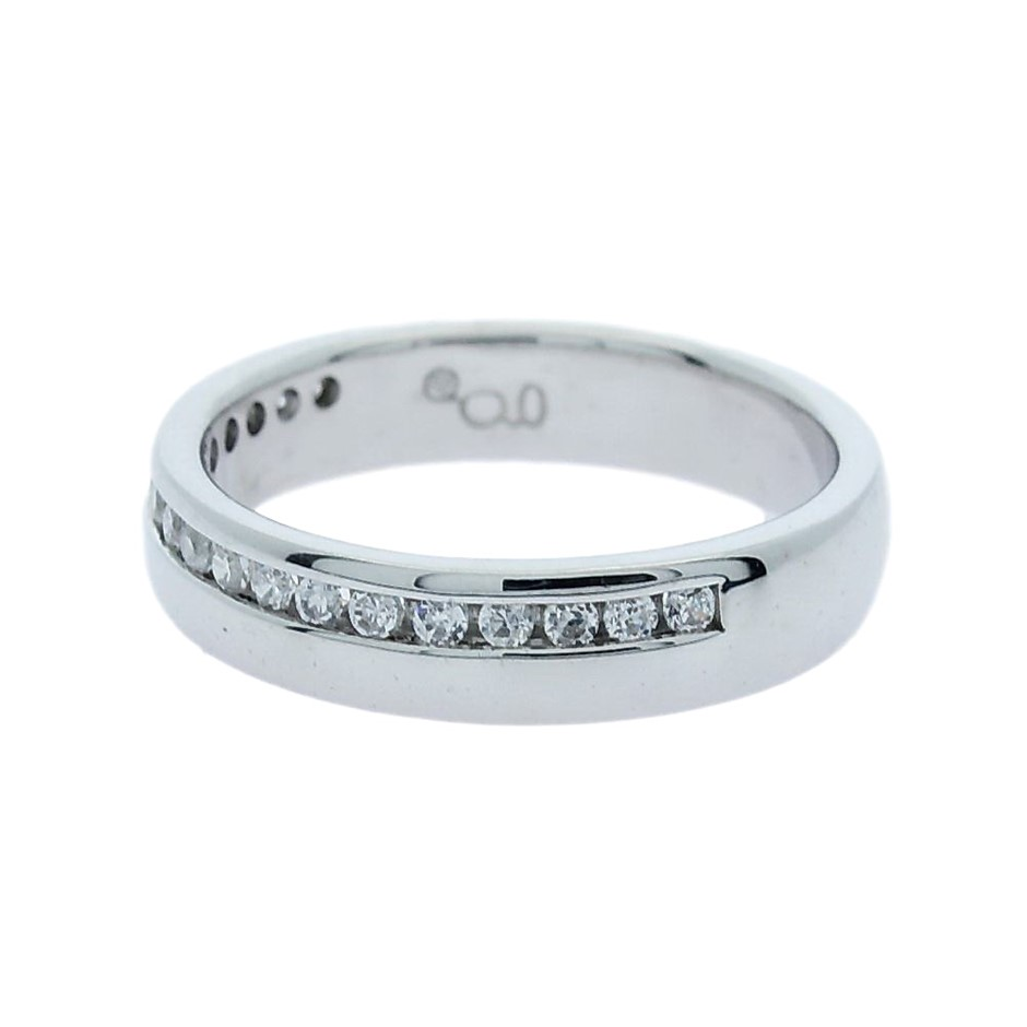 0.25 Carat Sterling Silver offset Channel set band
