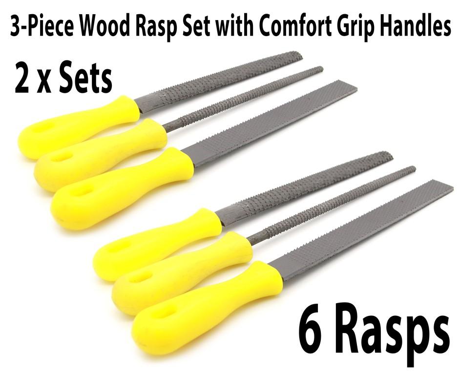 6 Pieces Wood Rasp Set with Comfort Grip Handles