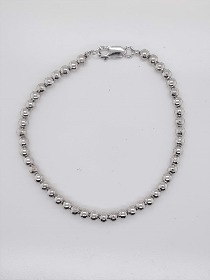 Sterling Silver Bead Bracelet 4mm