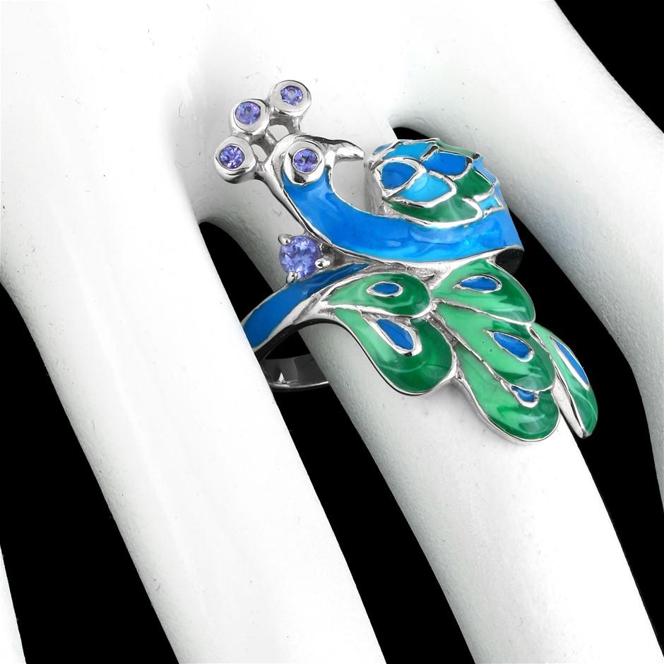 Unique Genuine Tanzanite Peacock Ring.
