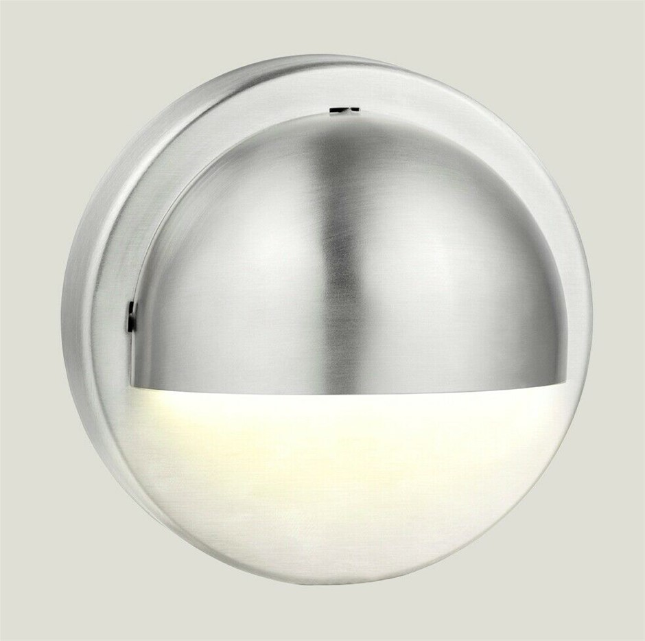 HPM LED Stainless Steel 100mm Round Outdoor Step Wall Light Silver 12V 1W