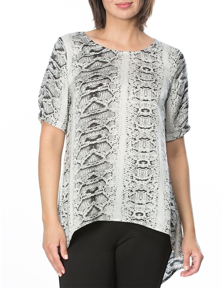 HAMMOCK AND VINE Animal Print Top. Size 12, Colour: Silver Print. 100% Poly