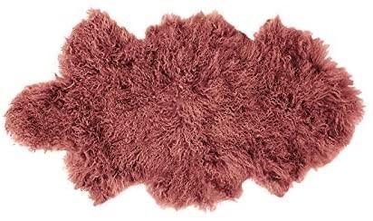 BAMBURY Mongolian Floor Rug, Clay. 100% Mongolian Lambswool Fur and Hide. S