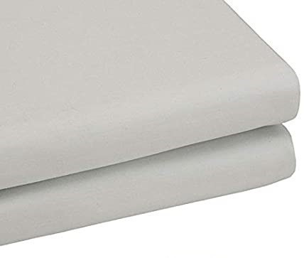 BAMBURY Tru-Fit Fitted Sheet, Single, Silver. 100% Cotton. 91cmx193cmx40cm.