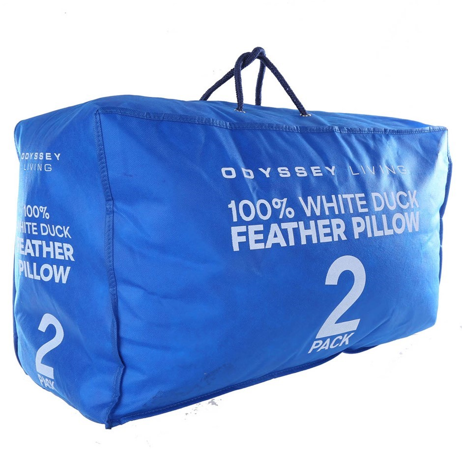 ODYSSEY LIVING 100% White Duck Feather Pillows, 2pk, Blue Packaging. Buyers