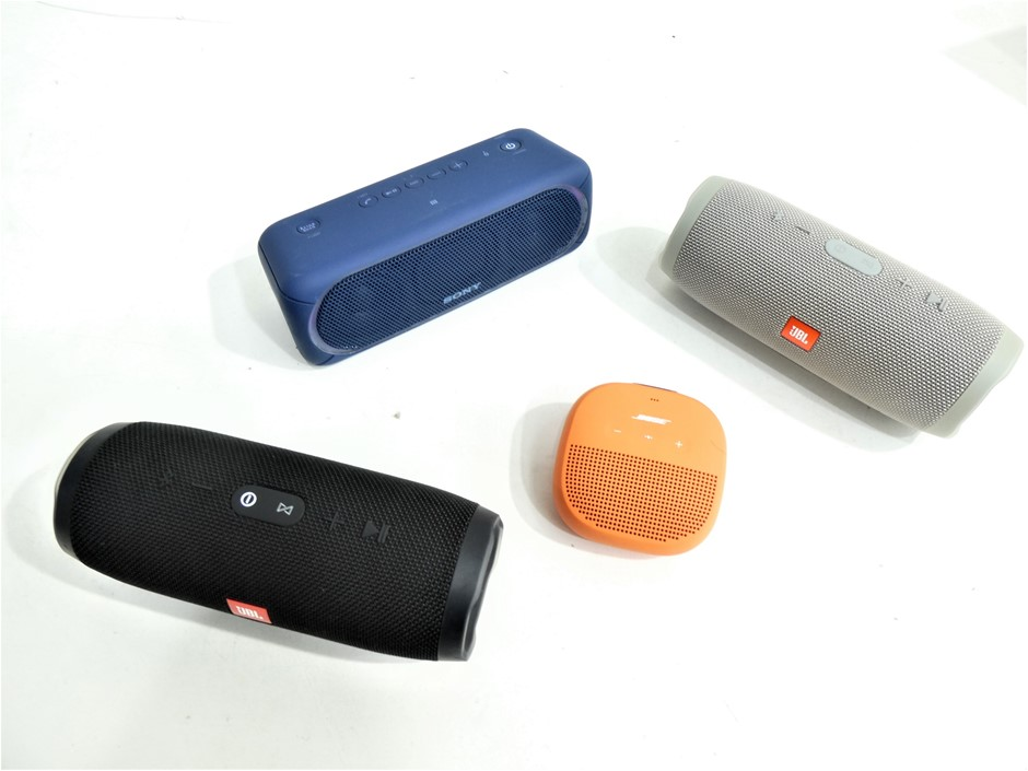 4x ASSORTED USED & UNTESTED BLUETOOTH WIRELESS PORTABLE SPEAKERS
