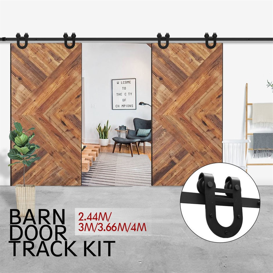 2.44M Antique Style Double Sliding Barn Door Hardware Track Roller Kit