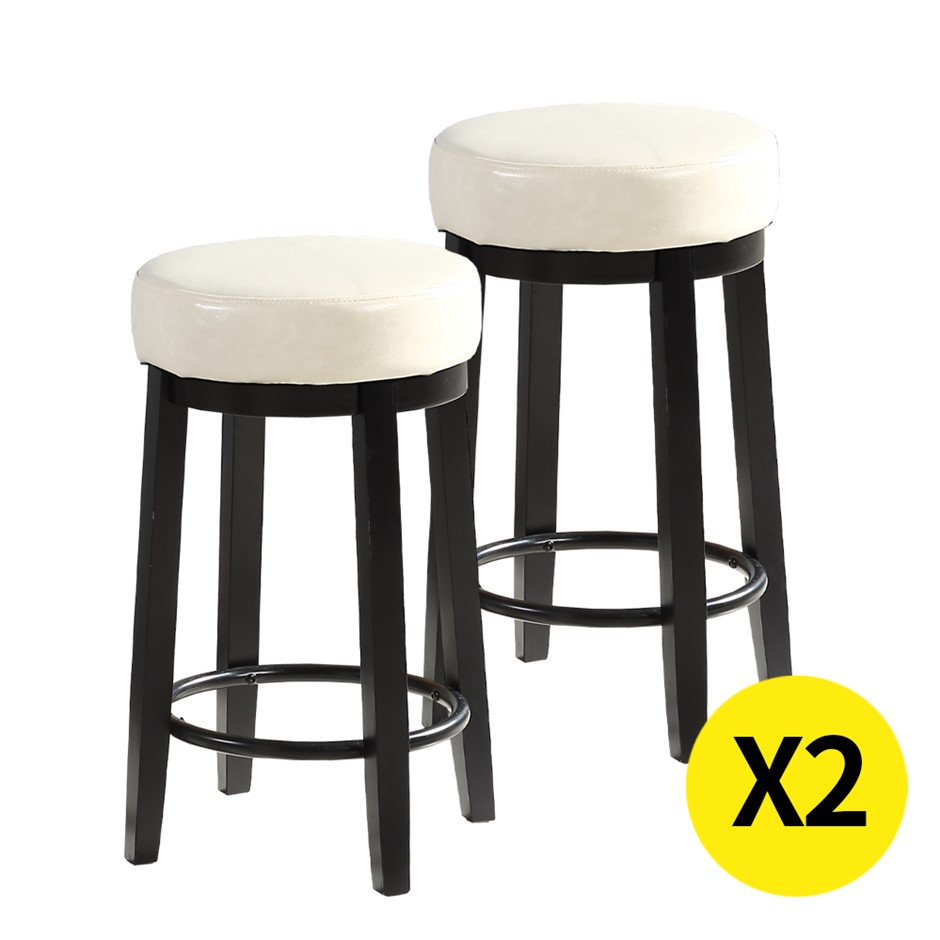 2x Levede 75cm Swivel Bar Stool Stool Wood Barstools Dining Chair Cream