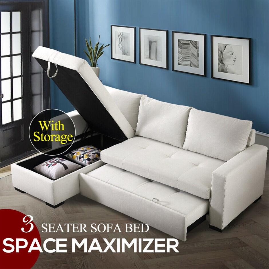 Levede 3-Seater Sofa Bed Set Corner Futon Fabric Lounge Chaise