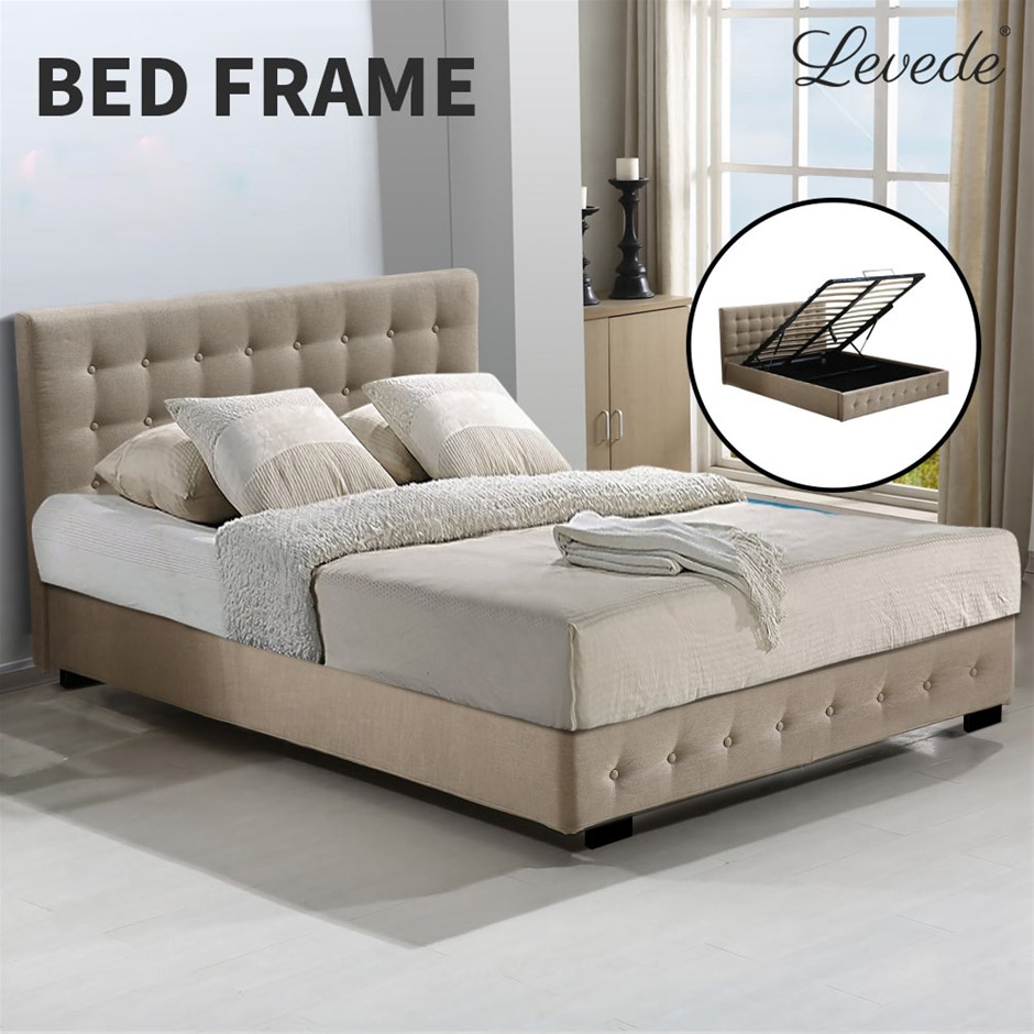 Levede Bed Frame Base With Gas Lift King Size Platform Fabric