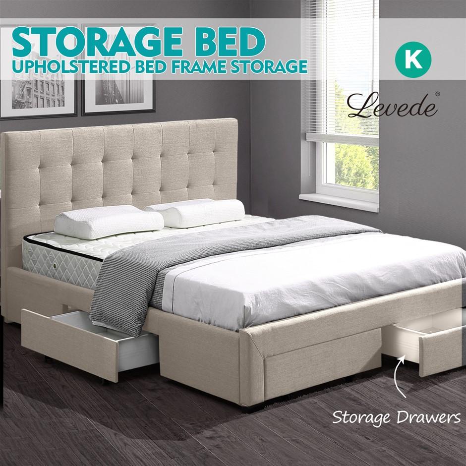 Levede Fabric Bed Frame Base Drawers Mattress Platform King Size Beige