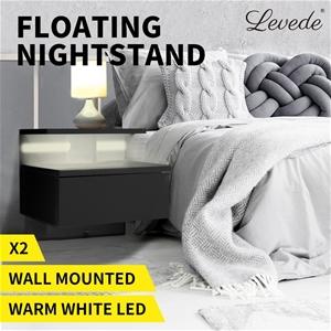 Levede Bedside Tables LED Side Table Dra