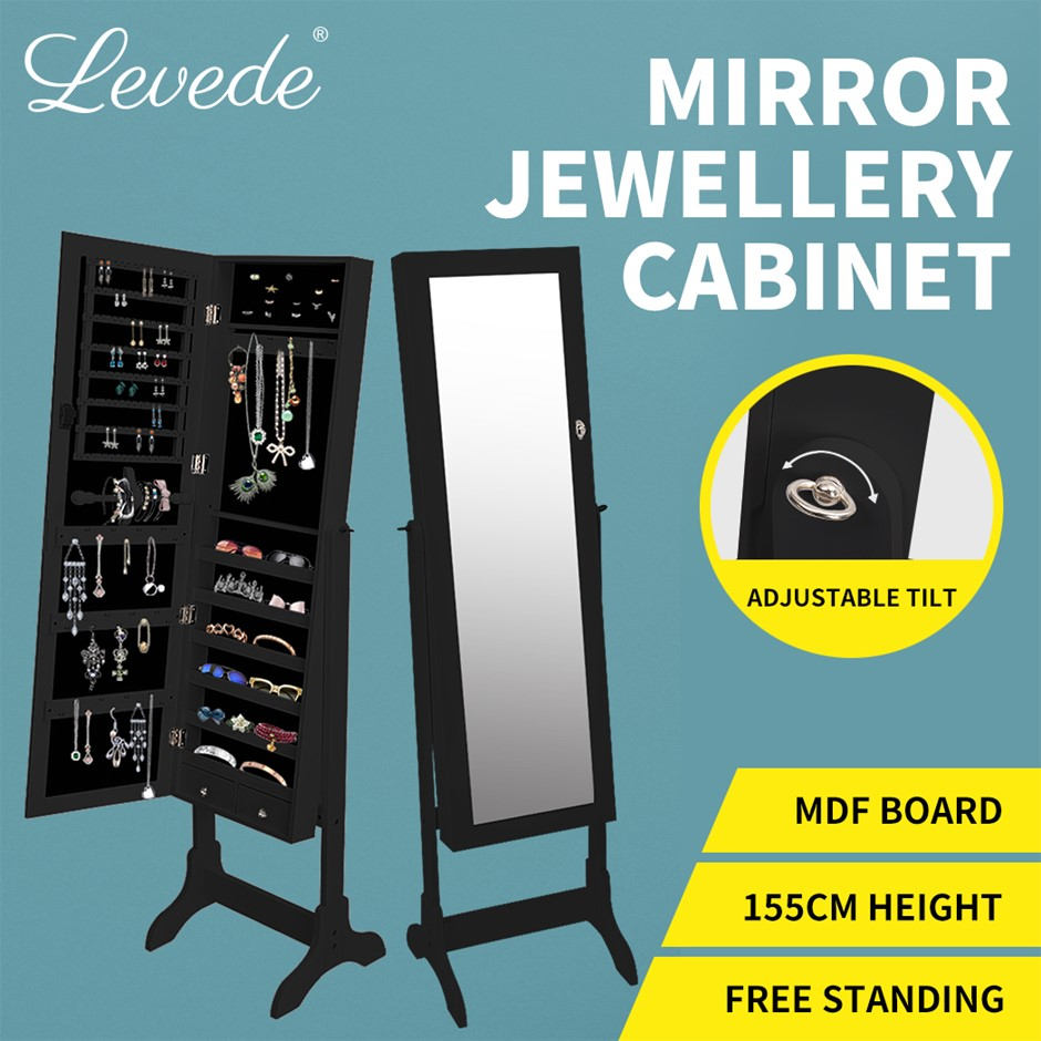 Levede Free Standing Mirrored Jewellery Dressing Cabinet W/ 2 Drawers