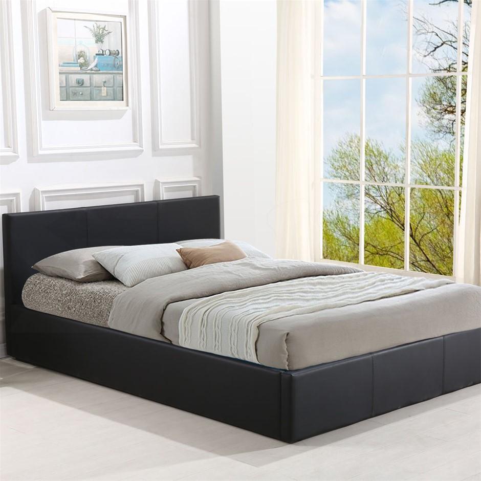 Levede Bed Frame Gas Lift Leather Base Mattress King Single Size Black