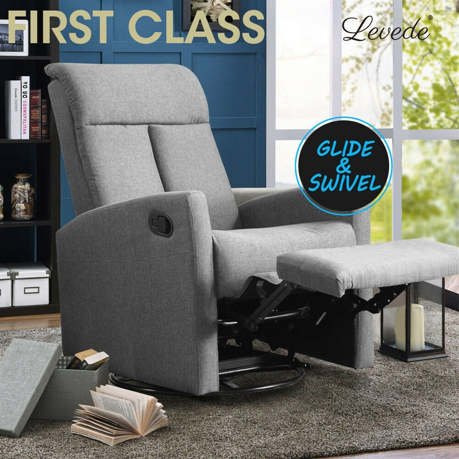 Levede Recliner Chair Chairs Armchair Sofa Lounge Couch Padded Grey Fabric