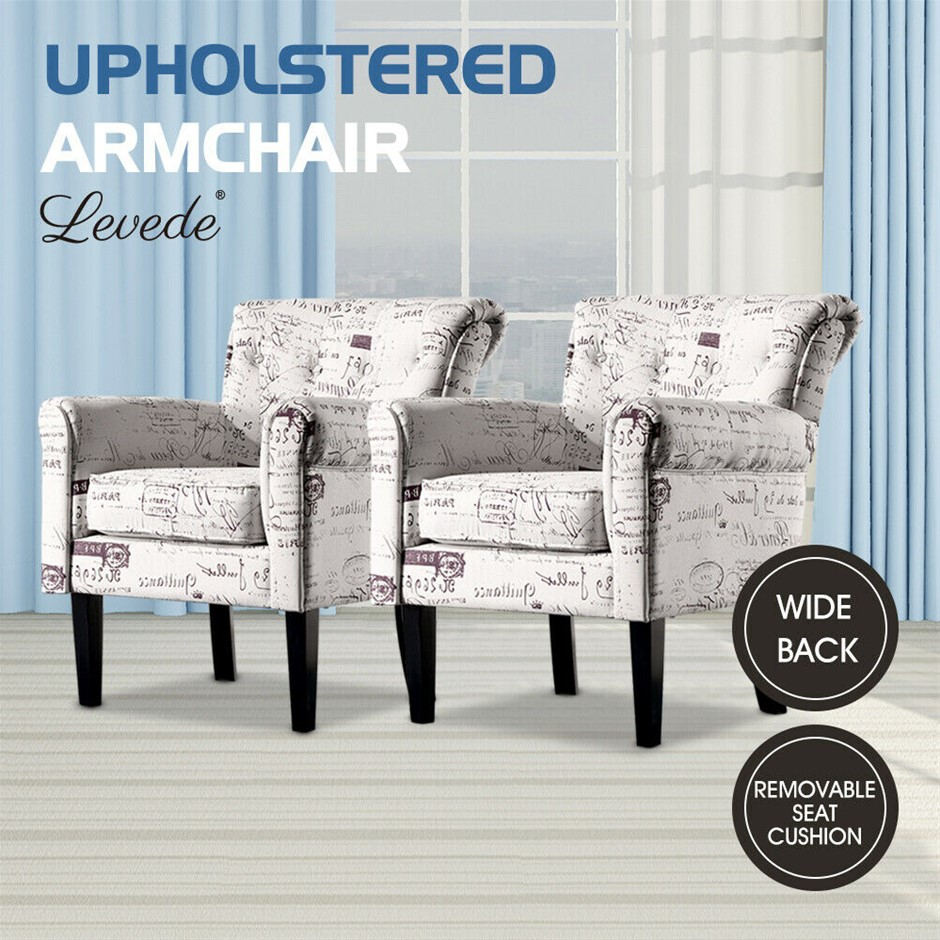 2x Levede UpholsteArmchair Dining Chairs Single Accent Sofa Padded Fabric