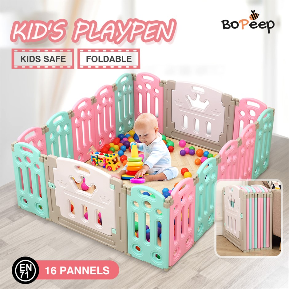 BoPeep Kids Playpen Baby Safety Gates Kid Play Pen Fence Room 16 Panels