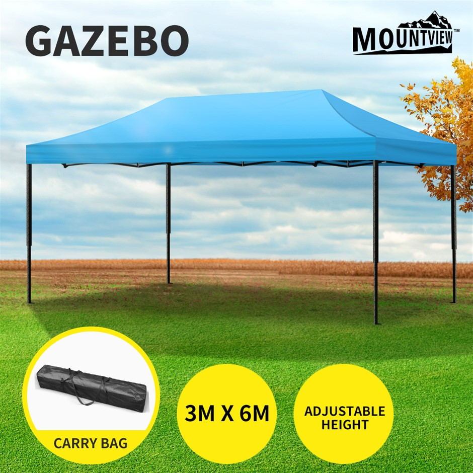 Mountview Gazebo Tent 3x6 Outdoor Marquee Gazebos Camping Canopy Blue