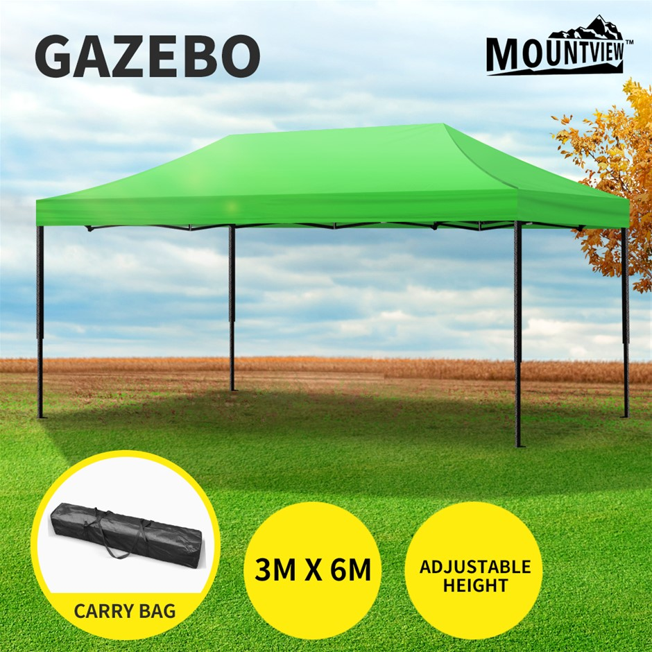 Mountview Gazebo Tent 3x6 Outdoor Marquee Gazebos Camping Canopy Green