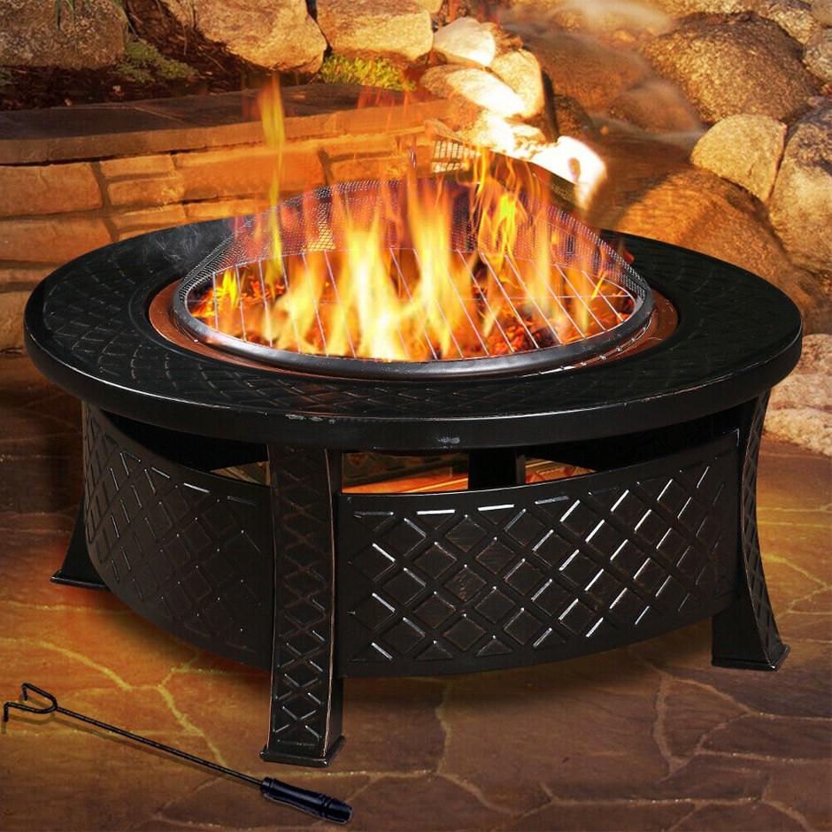 3 in 1 Outdoor Garden Fire Pit BBQ Firepit Brazier Round Stove Patio Heater